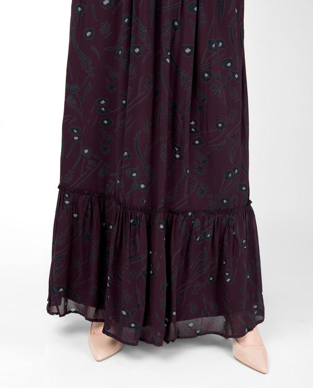 Plum Floral Gathered Skirt