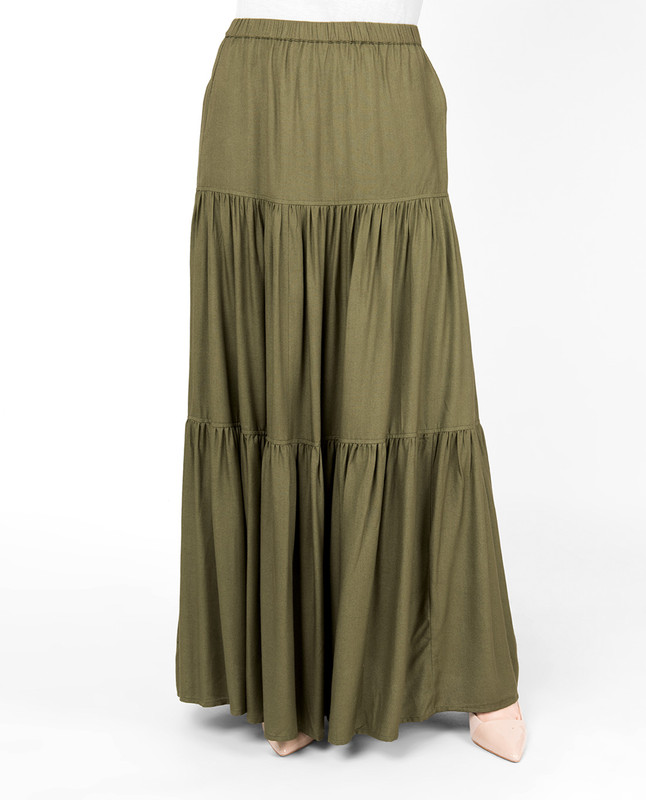Martini Olive Boho Gypsy Full Length Skirt
