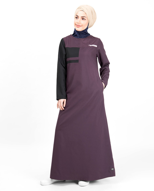 Plum & Black Button Neck Jilbab