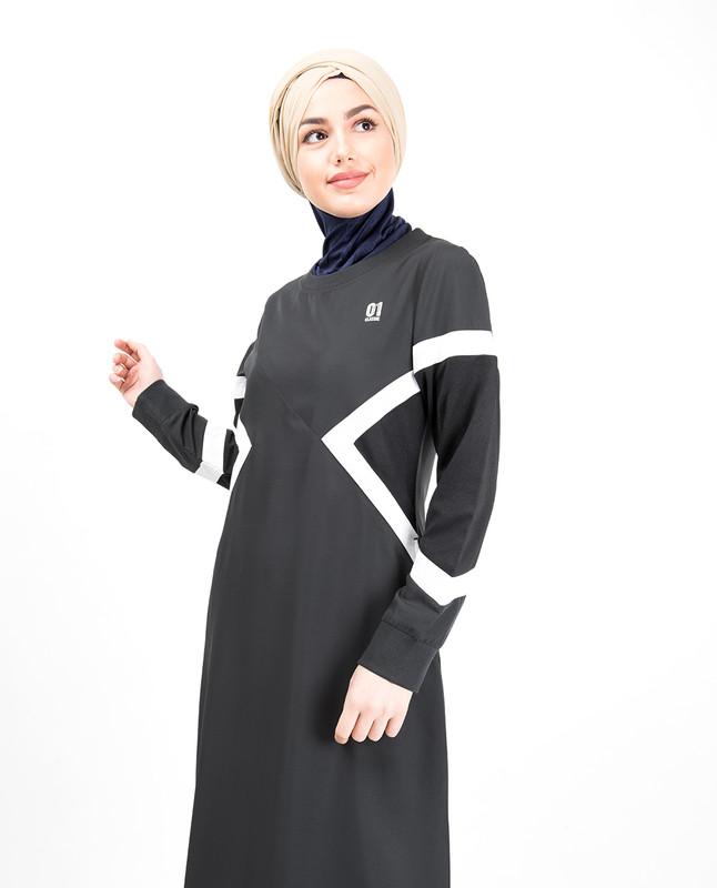 Grey Contrast Arrow Panel Jilbab
