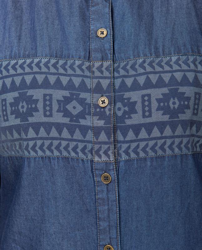 Blue Denim Navajo Print Abaya