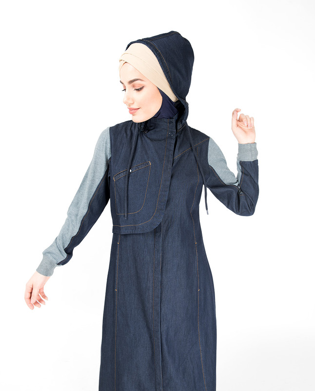Detachable Hoodie Deep Denim Abaya