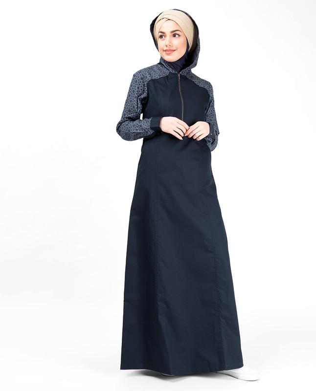 Blue Denim Hoodie Printed Abaya
