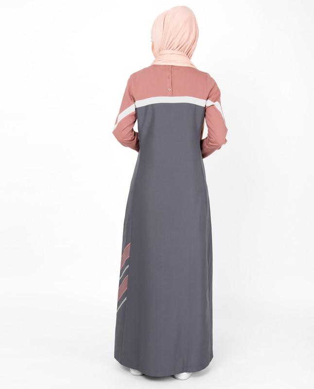Rabbit Grey Side Print Jilbab