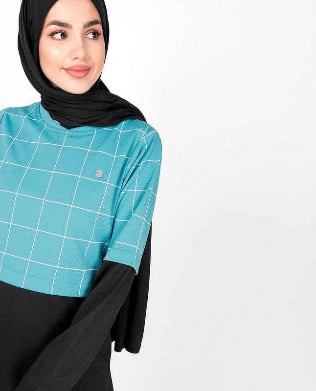 Blue Checkered Jilbab