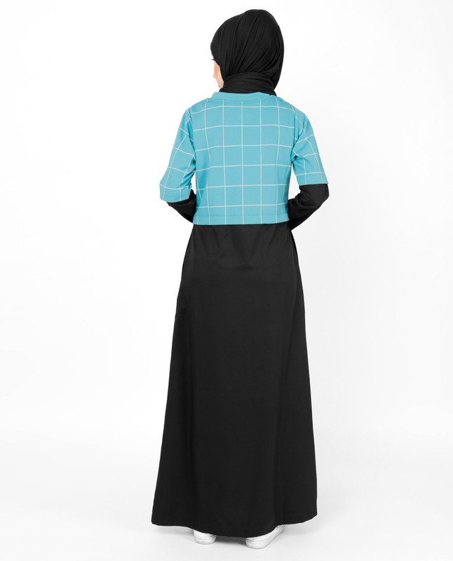 Blue Checkered Jilbab