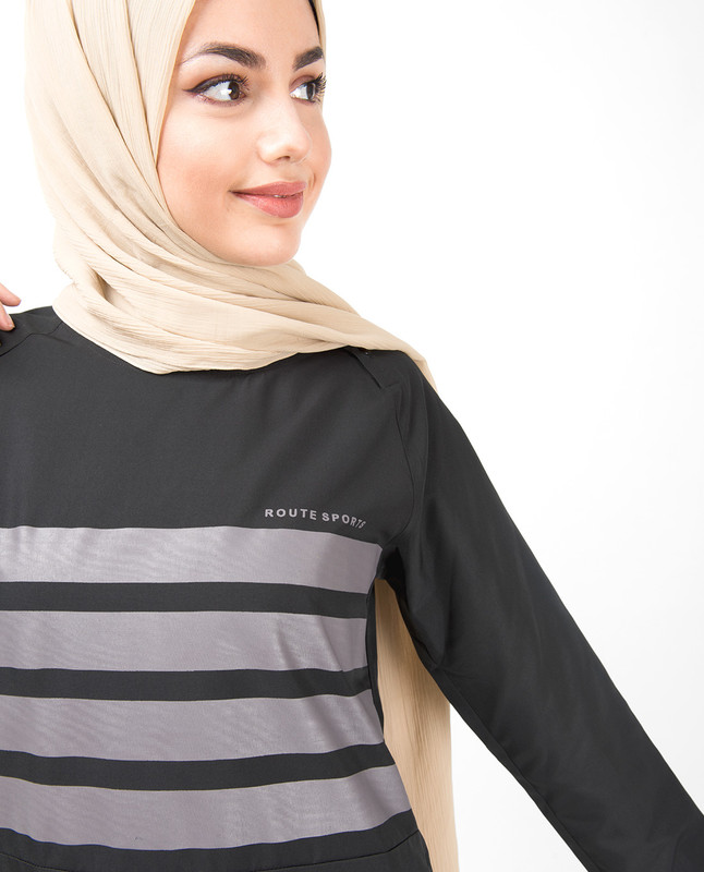 Striped Print High Low Hem Jilbab