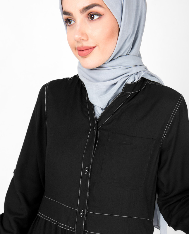 Black Gathered Full Front Open Abaya