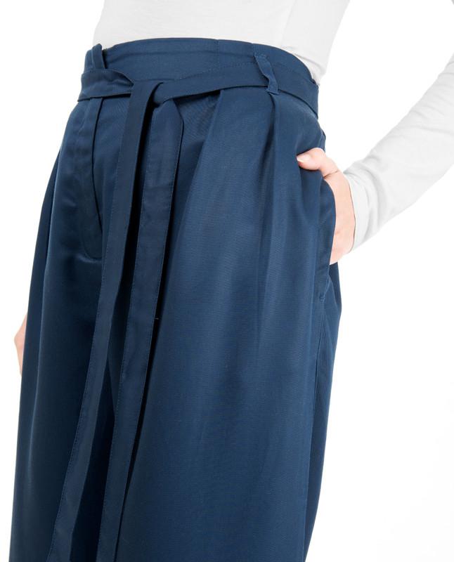 Blue Inverted Double Pleat Trouser
