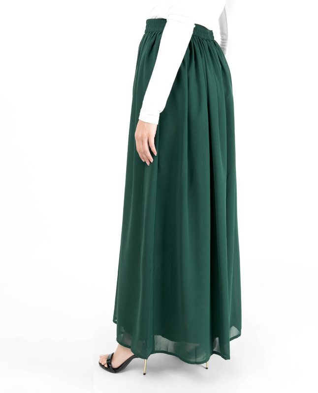 Green Flared Lined Skirt