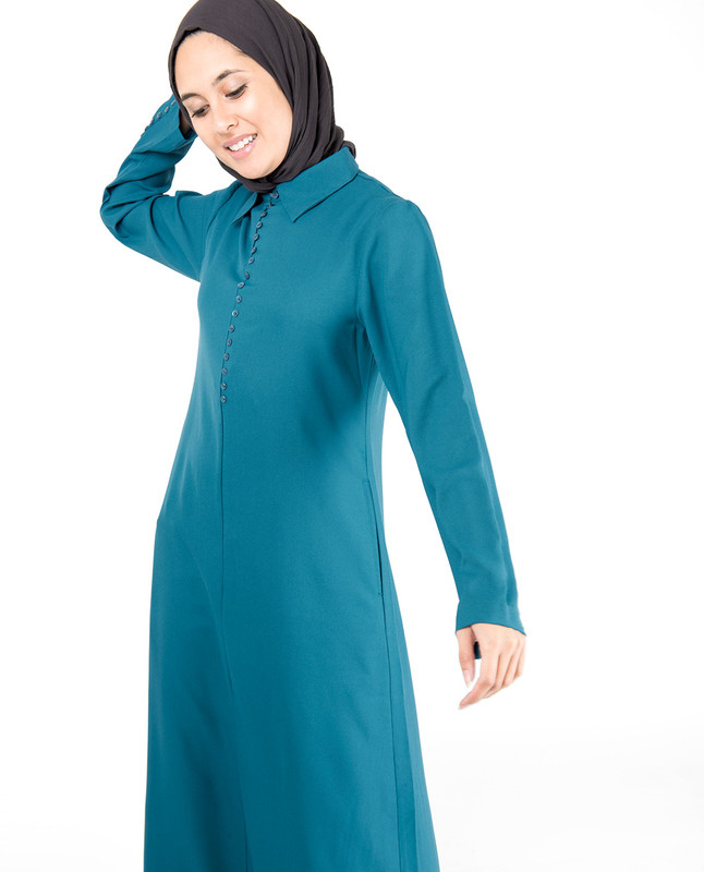 Deep Teal Fabric Button Abaya