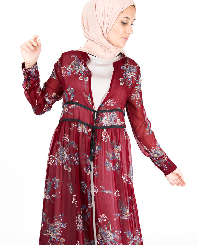 Red Floral Gathered Waist Outerwear