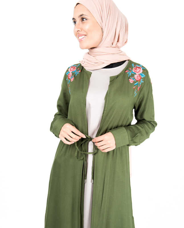 Cypress Green Floral Embroidered Outerwear