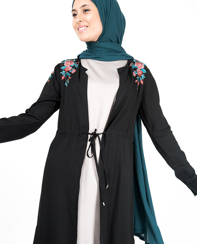 Black Floral Embroidered Outerwear