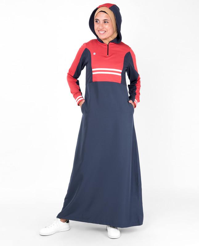 Blue & Coral Hooded Jilbab