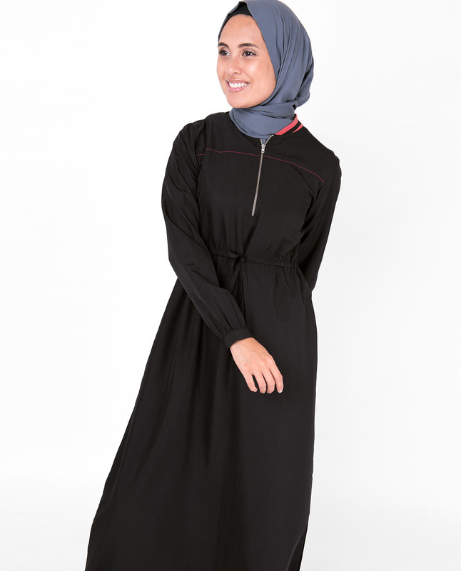 Baseball Collar Drawstring Black Jilbab