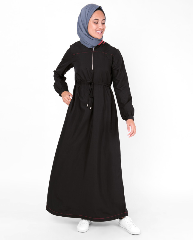 Baseball Collar Drawstring Black Jilbab