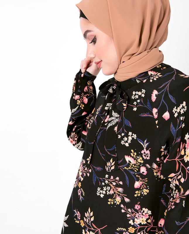 Floral Neck Tie Midi Dress