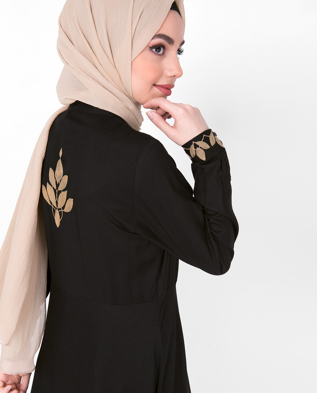 Gold Embroidery Black Midi