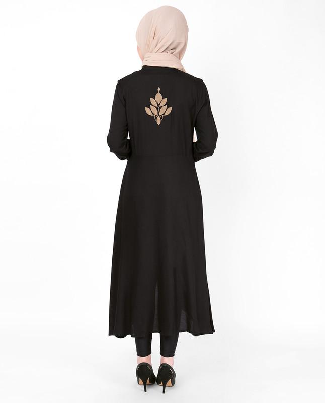 Gold Embroidery Black Midi