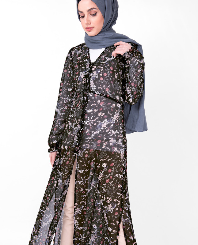 V Neck Black Floral Sheer Outerwear