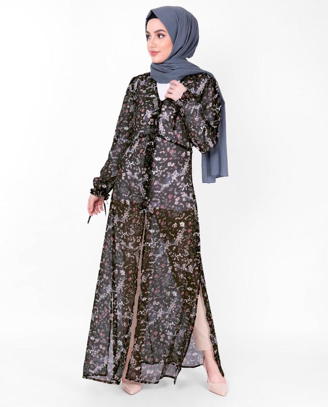 V Neck Black Floral Sheer Outerwear