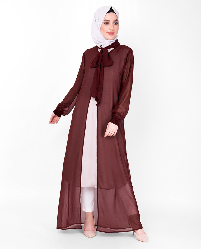 Maroon Gathered Neck Sheer Outerwear