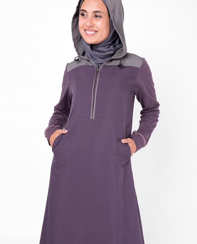 Purple Hooded Kangaroo Pocket Jilbab