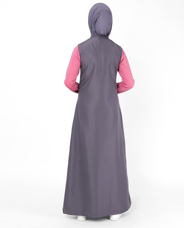 Pink And Warm Grey Kangaroo Pocket Jilbab