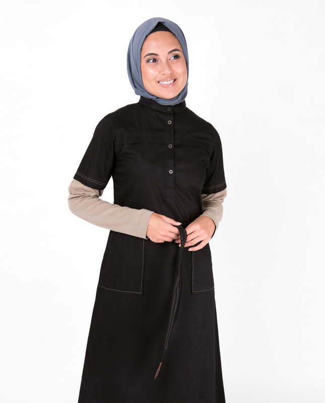 Black Tie Up Contrast Sleeve Abaya