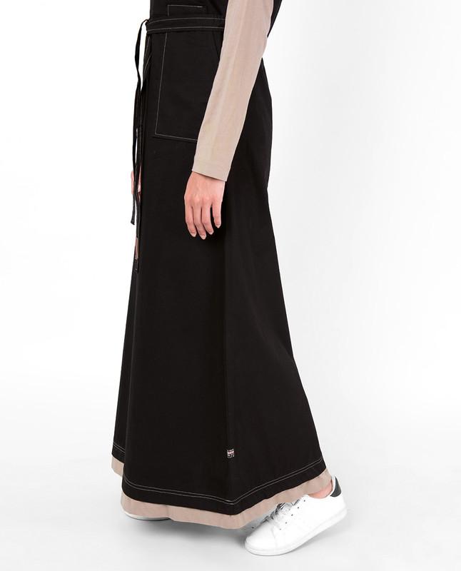 Black Tie Up Contrast Sleeve Abaya