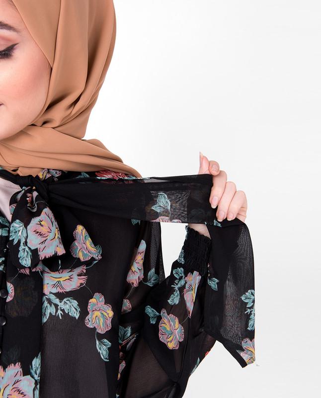 Black Floral Neck Tie Up Outerwear
