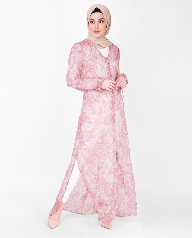 V Neck Pink Floral Sheer Outerwear