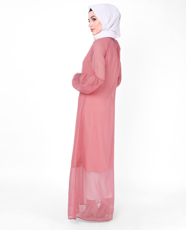 Pink Gathered Neck Sheer Outerwear