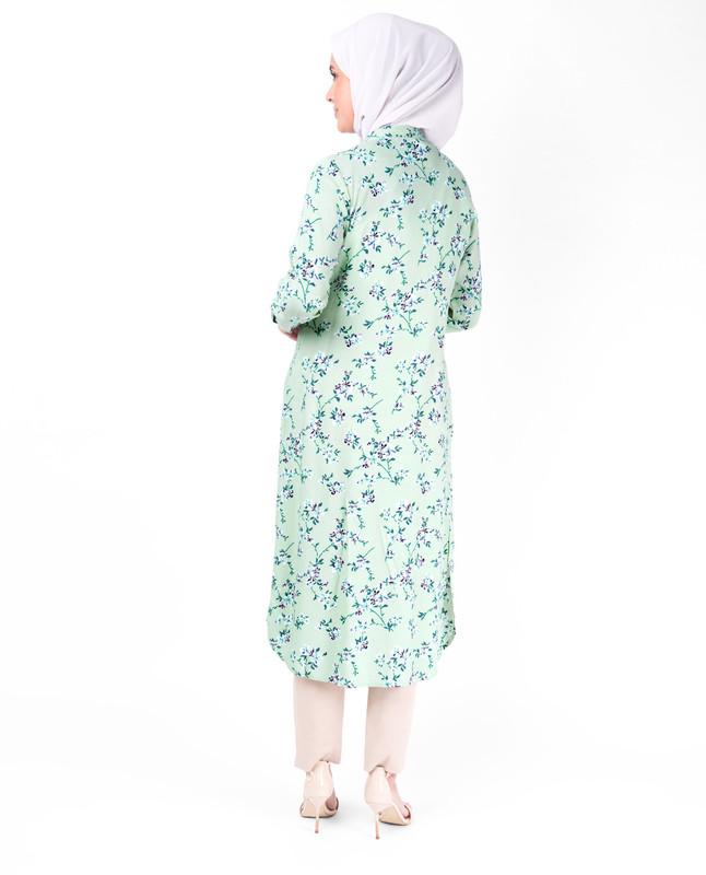 Mint Floral Print Midi