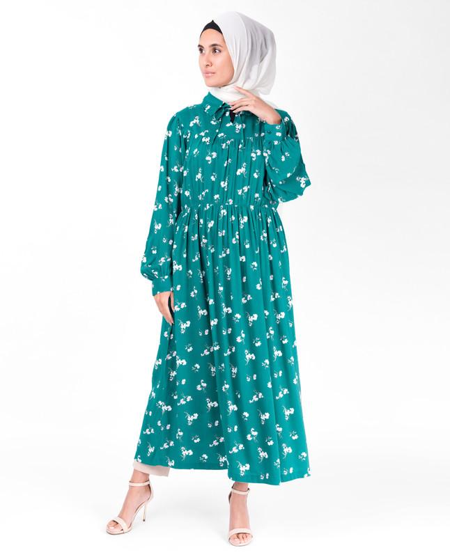 Teal Gathered Waist Midi Dress