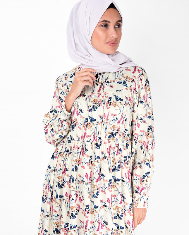 Floral Gathered Waist Midi Dress