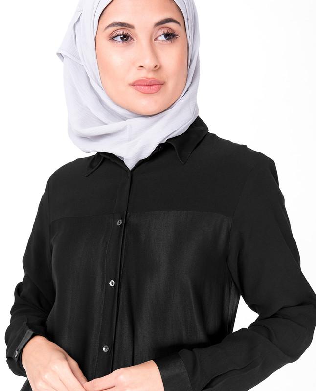 Sumo Satin Black Shirt Dress