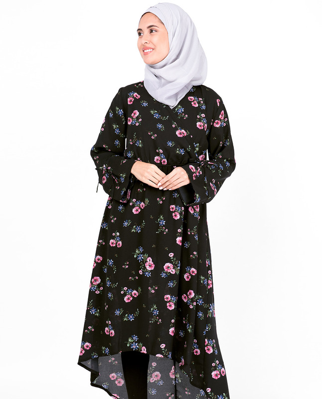 Haider Moss Black Floral High Low