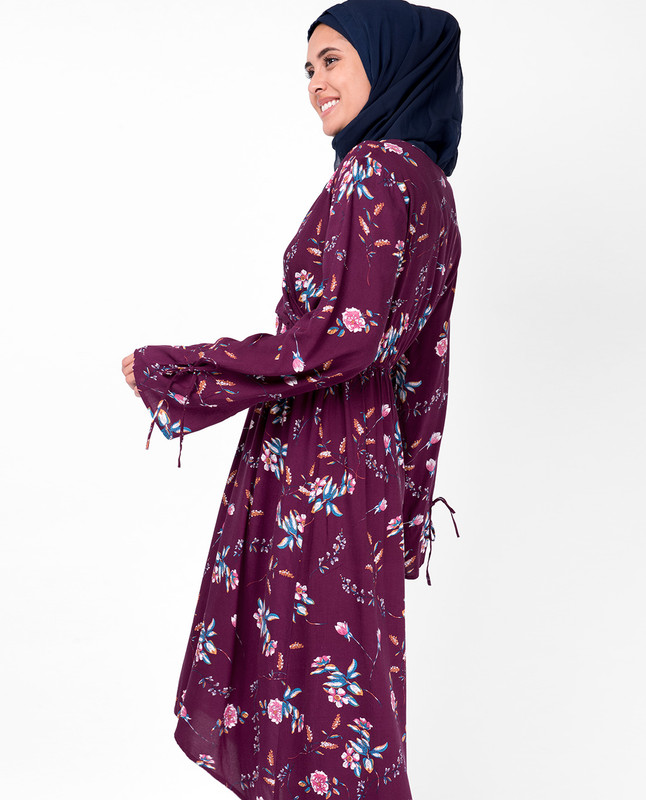 Floral Maroon Gathered Midi