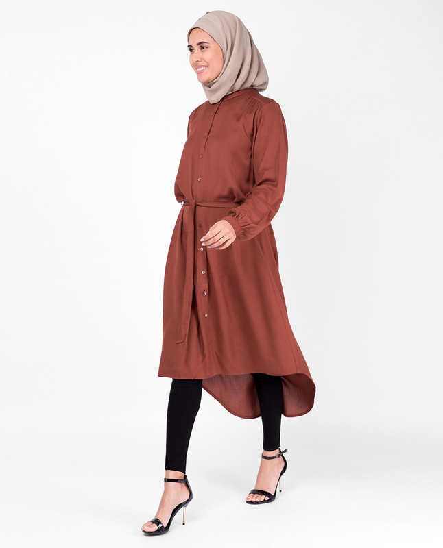 Balloon Sleeve Muted Sequia Shirt Dress
