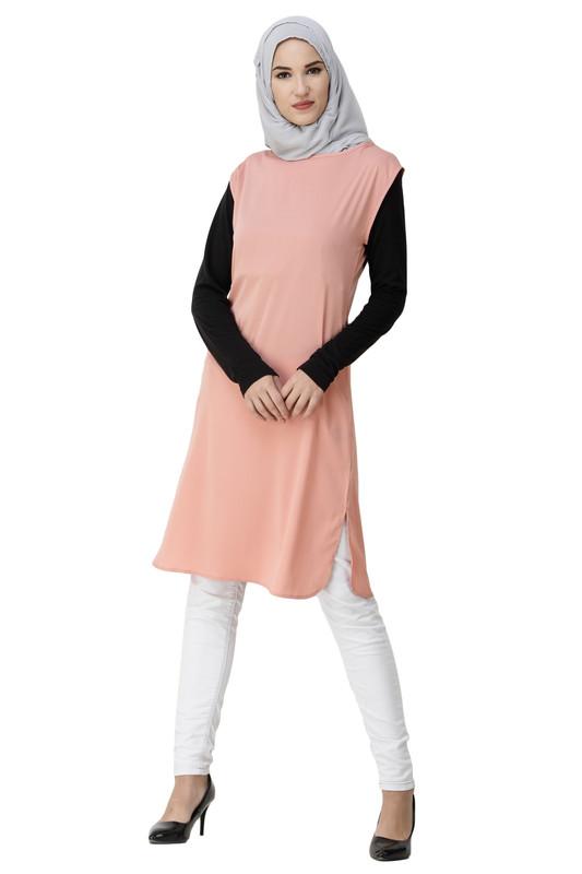 Boat Neck Pink Poly Slip Dress