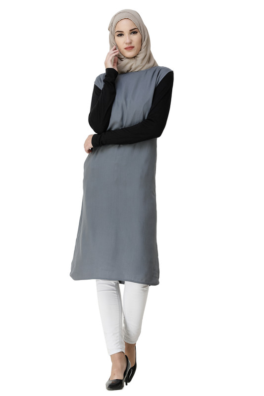 Boat Neck Grey Rayon Slip Dress