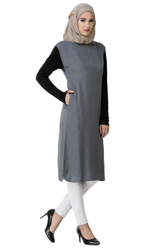 Boat Neck Grey Rayon Slip Dress