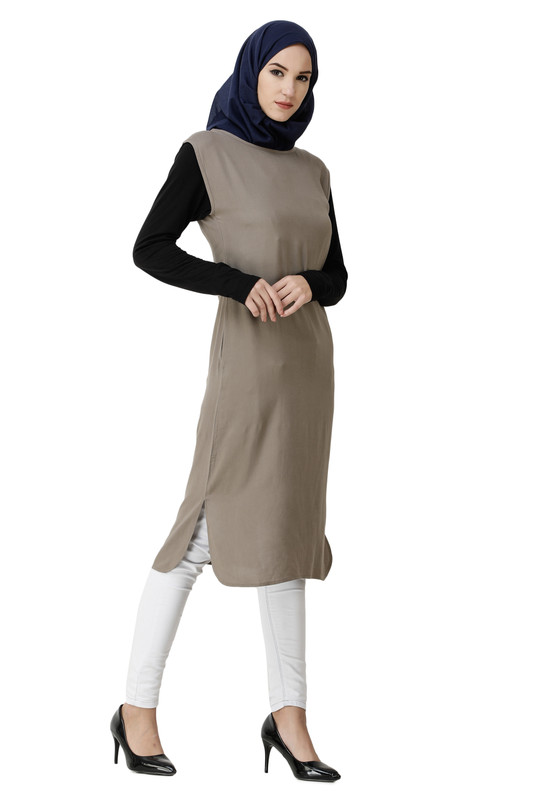 Boat Neck Brown Rayon Slip Dress