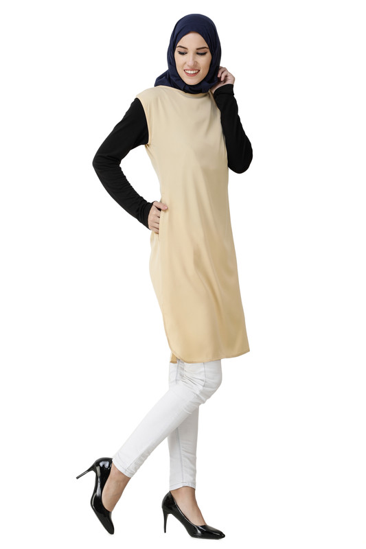 Boat Neck Beige Poly Slip Dress