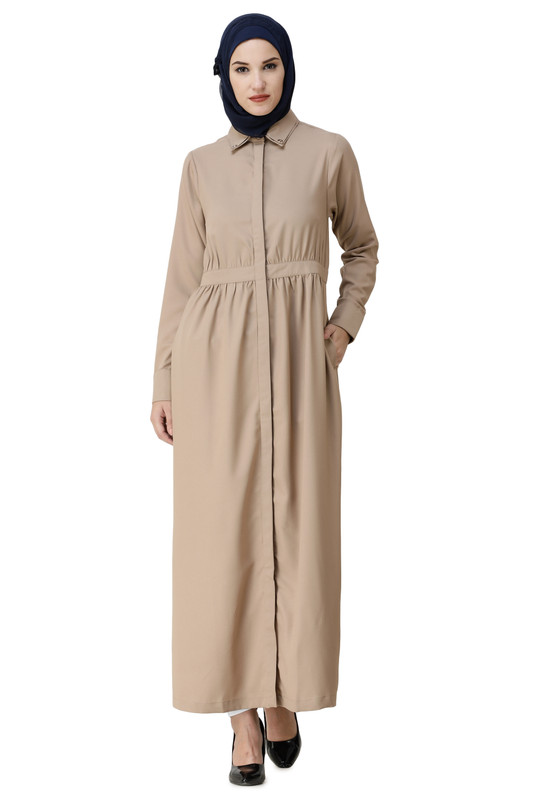 Gathered Waist Full Front Open Abaya