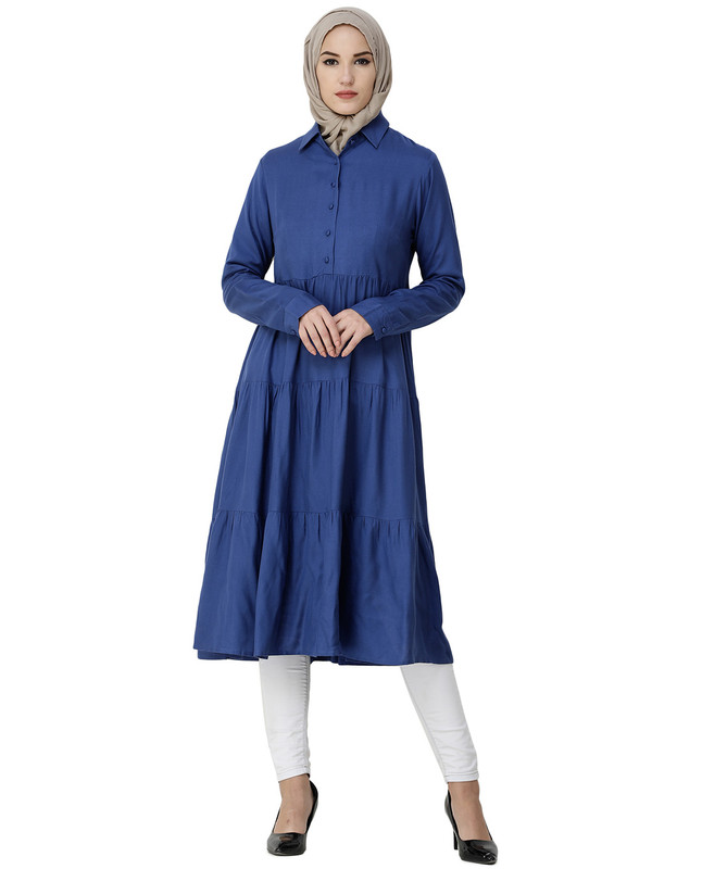 True Blue Three Layer Gathered Midi Dress