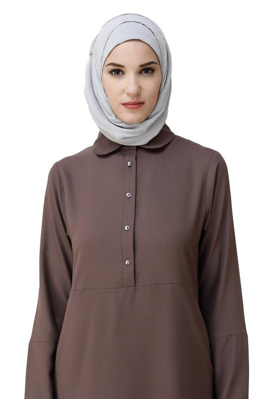 Cognac Brown Shirt Collar Abaya