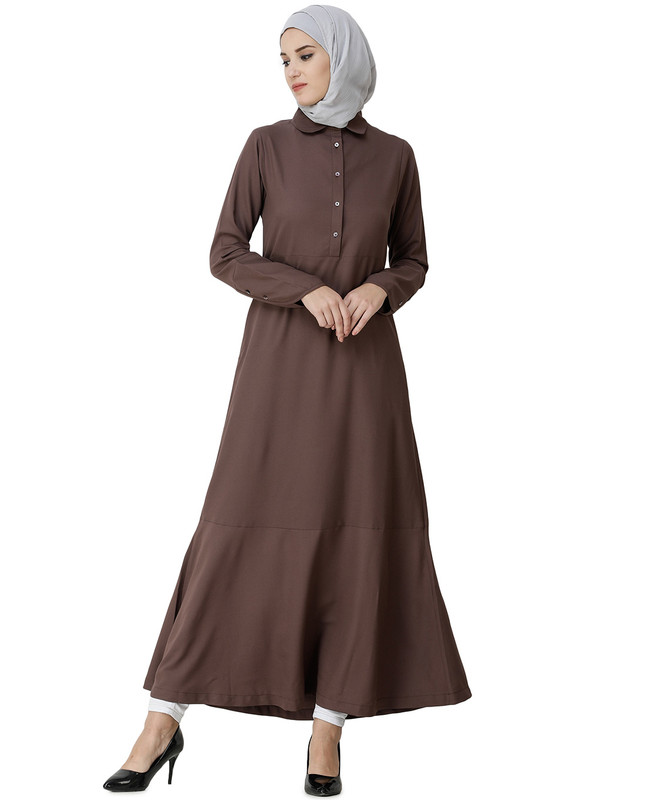 Cognac Brown Shirt Collar Abaya